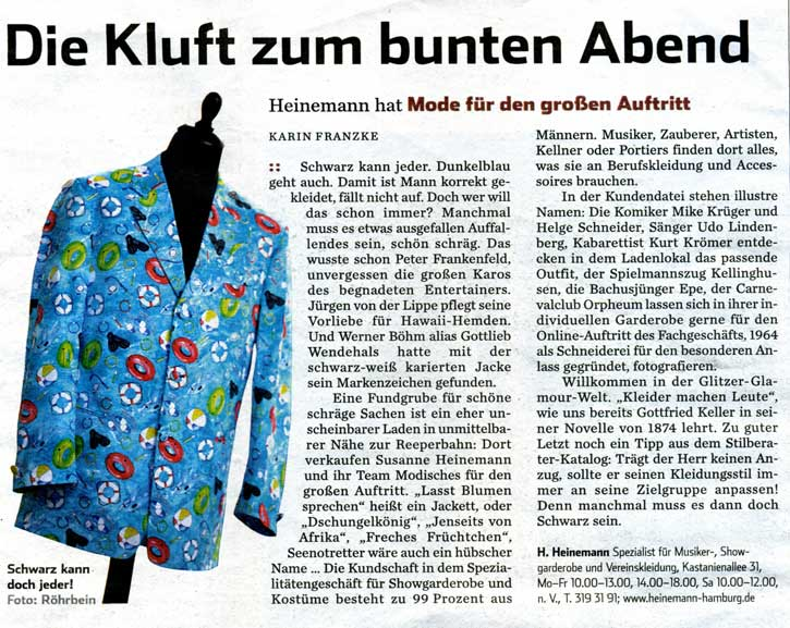 Hamburger Abendblatt Beilage Artikel über Heinemann Hamburg vom 26. August 2010